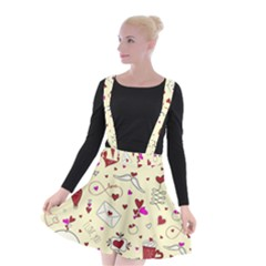 Valentinstag Love Hearts Pattern Red Yellow Suspender Skater Skirt