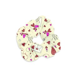 Valentinstag Love Hearts Pattern Red Yellow Velvet Scrunchie