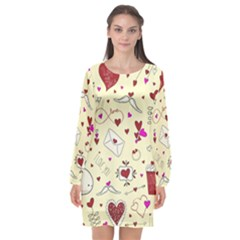 Valentinstag Love Hearts Pattern Red Yellow Long Sleeve Chiffon Shift Dress