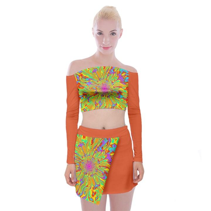 Background Color Solid Dark Orange Off Shoulder Top with Skirt Set