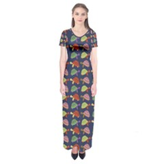 Turtle pattern Short Sleeve Maxi Dress