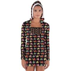 Turtle pattern Women s Long Sleeve Hooded T-shirt