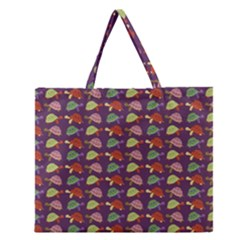 Turtle pattern Zipper Large Tote Bag