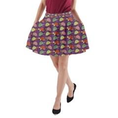 Turtle pattern A-Line Pocket Skirt