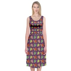 Turtle pattern Midi Sleeveless Dress