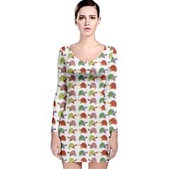 Turtle pattern Long Sleeve Velvet Bodycon Dress