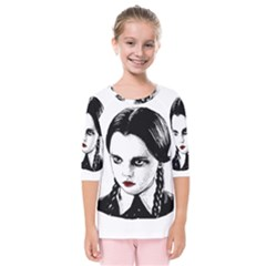 Wednesday Addams Kids  Quarter Sleeve Raglan Tee