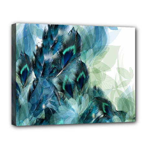 Flowers And Feathers Background Design Canvas 14  x 11