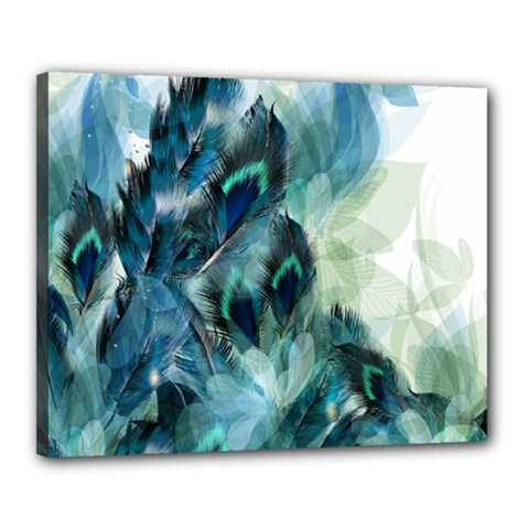 Flowers And Feathers Background Design Canvas 20  x 16