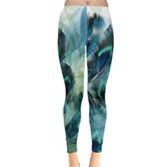 Flowers And Feathers Background Design Leggings