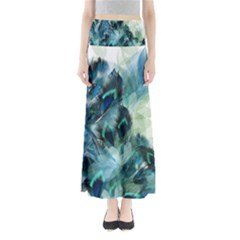 Flowers And Feathers Background Design Maxi Skirts