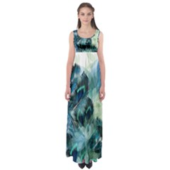 Flowers And Feathers Background Design Empire Waist Maxi Dress