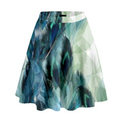 Flowers And Feathers Background Design High Waist Skirt