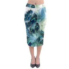 Flowers And Feathers Background Design Midi Pencil Skirt