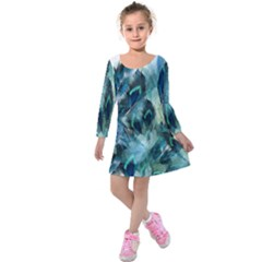 Flowers And Feathers Background Design Kids  Long Sleeve Velvet Dress