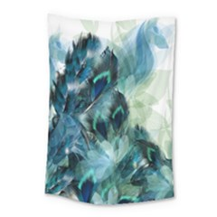 Flowers And Feathers Background Design Small Tapestry