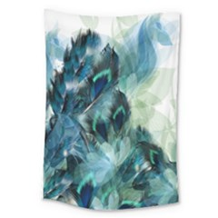 Flowers And Feathers Background Design Large Tapestry