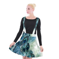 Flowers And Feathers Background Design Suspender Skater Skirt