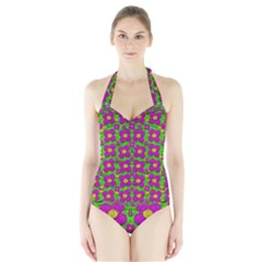 Bohemian Big Flower Of The Power In Rainbows Halter Swimsuit
