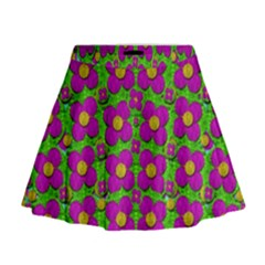 Bohemian Big Flower Of The Power In Rainbows Mini Flare Skirt
