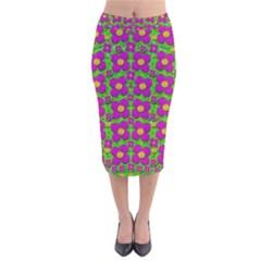 Bohemian Big Flower Of The Power In Rainbows Velvet Midi Pencil Skirt