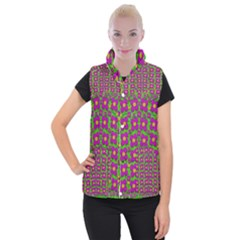 Bohemian Big Flower Of The Power In Rainbows Women s Button Up Puffer Vest