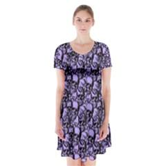 Skulls pattern  Short Sleeve V-neck Flare Dress