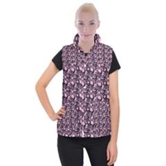 Skulls Pattern  Women s Button Up Puffer Vest