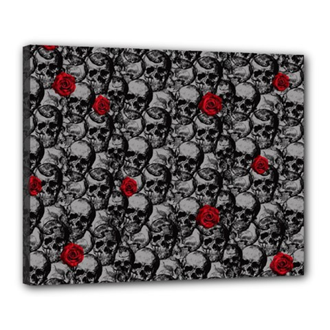 Skulls and roses pattern  Canvas 20  x 16