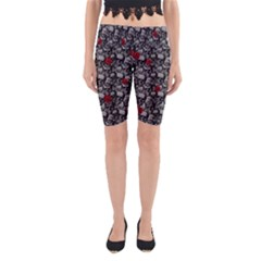 Skulls and roses pattern  Yoga Cropped Leggings