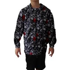 Skulls and roses pattern  Hooded Wind Breaker (Kids)