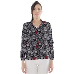 Skulls and roses pattern  Wind Breaker (Women)