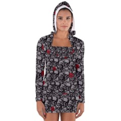 Skulls and roses pattern  Women s Long Sleeve Hooded T-shirt