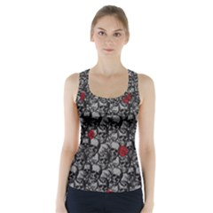 Skulls and roses pattern  Racer Back Sports Top
