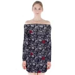 Skulls and roses pattern  Long Sleeve Off Shoulder Dress