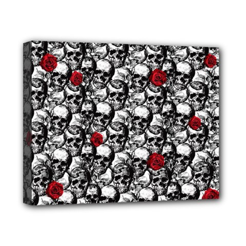 Skulls and roses pattern  Canvas 10  x 8