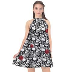 Skulls And Roses Pattern  Halter Neckline Chiffon Dress