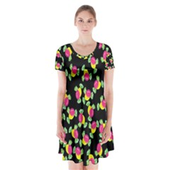 Candy pattern Short Sleeve V-neck Flare Dress