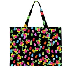 Candy pattern Zipper Large Tote Bag