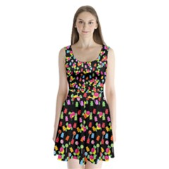 Candy pattern Split Back Mini Dress
