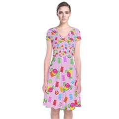 Candy pattern Short Sleeve Front Wrap Dress