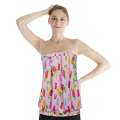 Candy pattern Strapless Top