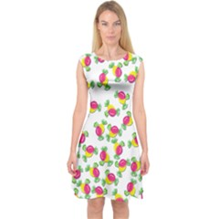 Candy pattern Capsleeve Midi Dress