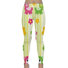 Animals Bear Flower Floral Line Red Green Pink Yellow Sunflower Star Classic Yoga Leggings