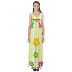 Animals Bear Flower Floral Line Red Green Pink Yellow Sunflower Star Empire Waist Maxi Dress