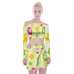 Animals Bear Flower Floral Line Red Green Pink Yellow Sunflower Star Off Shoulder Top With Skirt Set