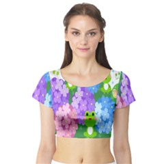 Animals Frog Face Mask Green Flower Floral Star Leaf Music Short Sleeve Crop Top (tight Fit)