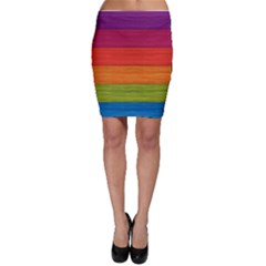 Wooden Plate Color Purple Red Orange Green Blue Bodycon Skirt
