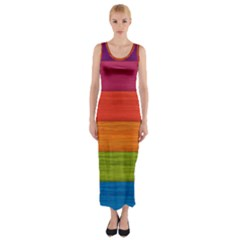Wooden Plate Color Purple Red Orange Green Blue Fitted Maxi Dress
