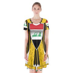 Coat of Arms of Iraq  Short Sleeve V-neck Flare Dress